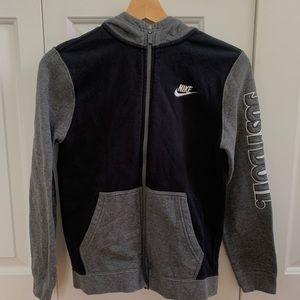NIKE grey & black zip up hoodie